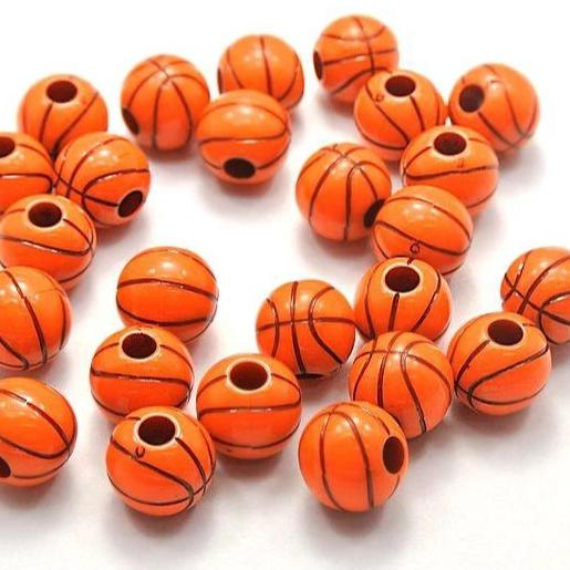 Round Acrylic Beads 12mm - Orange Basketball - 15 Beads - K179
