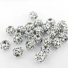Round Resin Rhinestone Beads 10mm - Sparkle Silver - 15 Beads - BD1457
