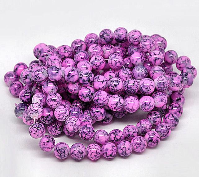 BD043 Fabulous Fuchsia and Midnight Navy 15 Glass Beads 10mm