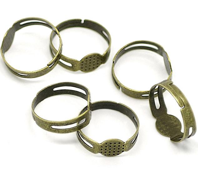 Bronze Tone Adjustable Ring Bases - 17.9mm with 8mm glue pad - 15 Pieces - FD044