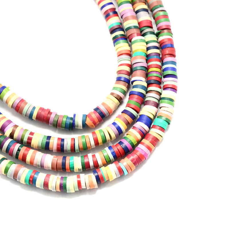 Heishi Polymer Clay Beads 6mm x 1mm - Muted Rainbow Colors - 1 Strand 380 Beads - BD1325