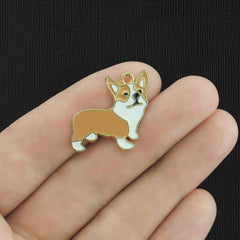 4 Corgi Dog Gold Tone Enamel Charms - E794