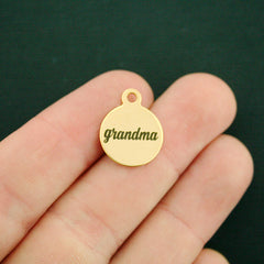 Grandmother Gold Stainless Steel Charm - Grandma - Smaller Size - Exclusive Line - Quantity Options - BFS1655GOLD