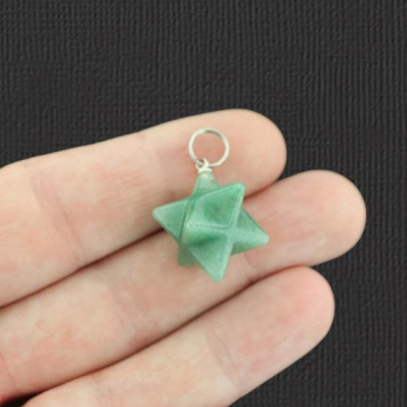 Natural Green Aventurine Merkaba Star Pendant 3D - GEM033