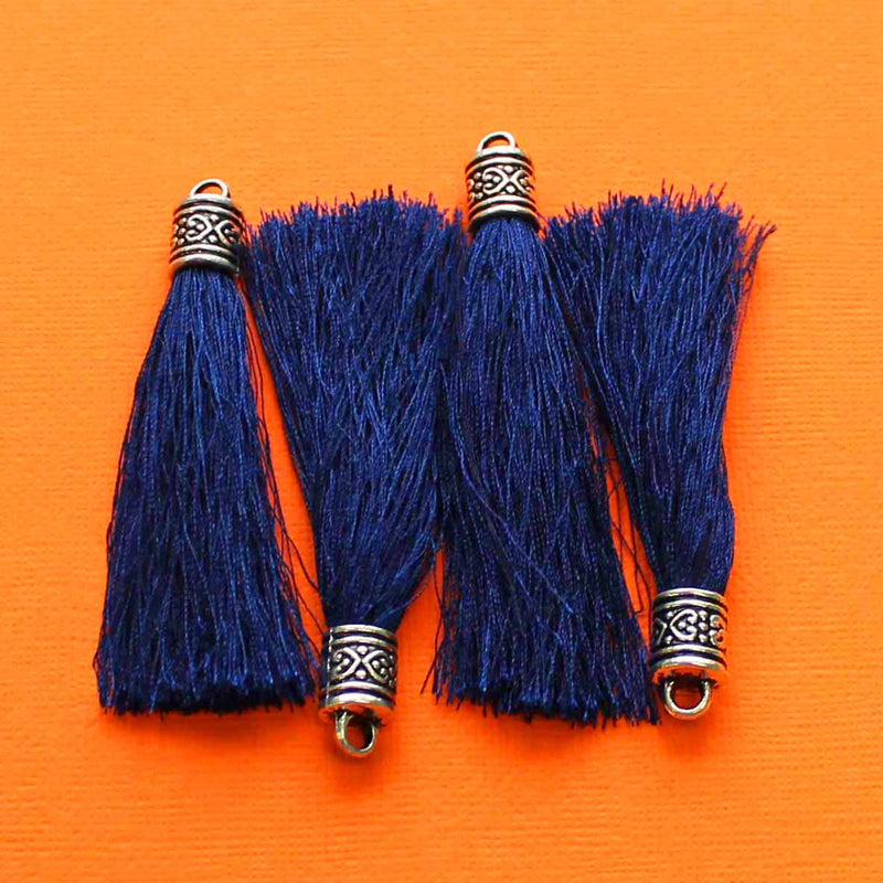 Polyester Tassels - Royal Blue and Antique Silver Tone - 1 Piece - Z127