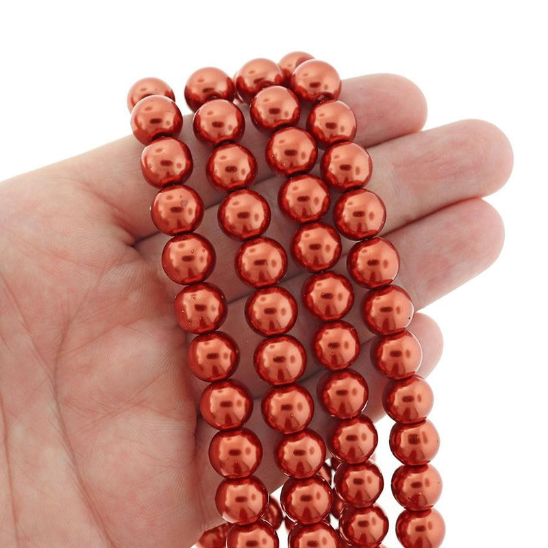 Round Glass Beads 10mm - Pearly Red - 1 Strand 85 Beads - BD2574
