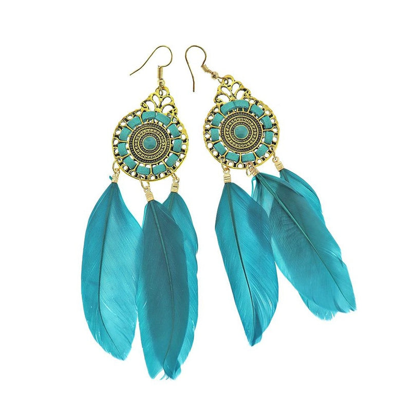 2 Feather Dreamcatcher Earrings - French Hook Style - 1 Pair - Z1223