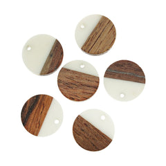 2 Round Natural Wood and Resin Charms - Z1036
