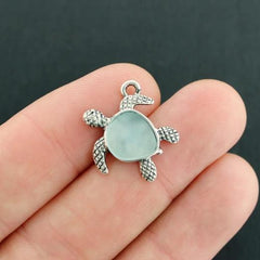 Turtle Antique Silver Tone Charm With Inset Grey Seaglass - SC2032