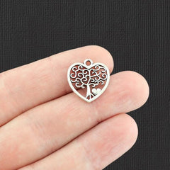 10 Heart Tree of Life Antique Silver Tone Charms 2 Sided - SC4053