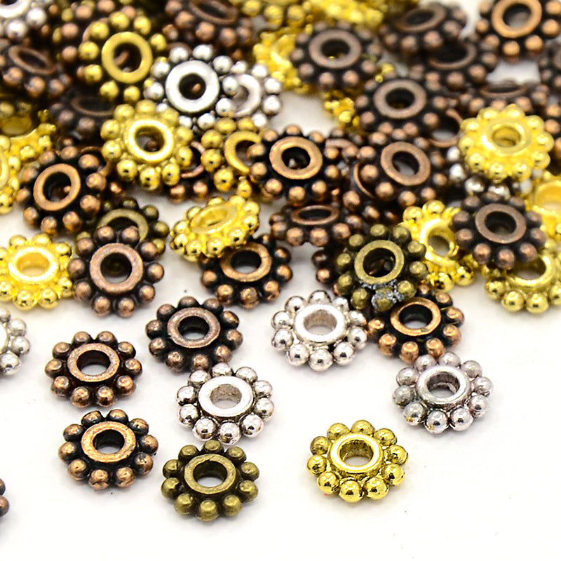 Daisy Spacer Metal Beads 6.5mm x 6.5mm - Assorted Silver, Bronze, Copper and Gold Tone - 50 Beads - FD384