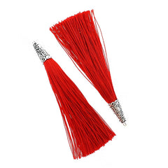 Polyester Tassel with Cap - Red and Silver Tone - 4 Pieces - TSP013