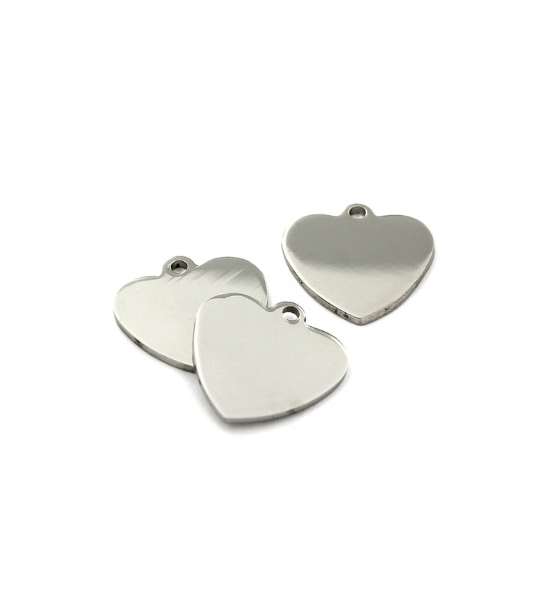 Heart Stamping Blanks - Stainless Steel - 20mm x 20mm - 2 Tags - FD737