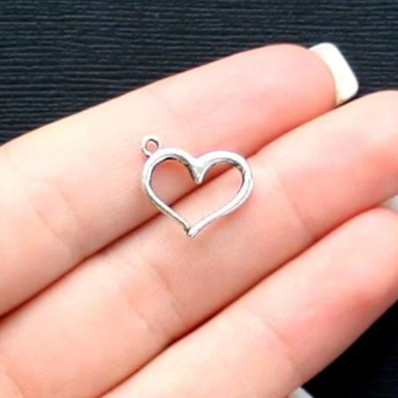 BULK 40 Heart Charms Antique Silver Tone with Classic Design SC2510