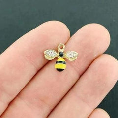 2 Bee Gold Tone Enamel Charms with Inset Rhinestones - E447