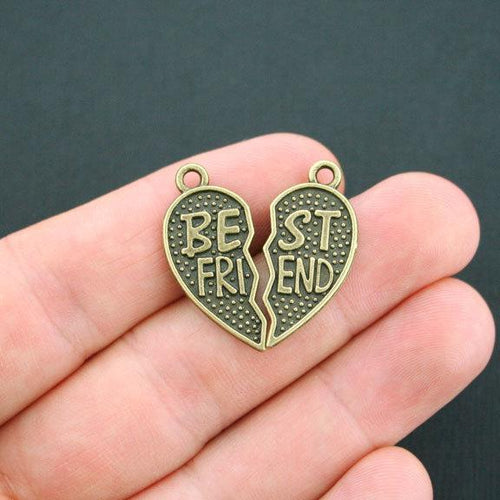 BC1628 4 Best Friend Charms Antique Bronze Tone Love you like a sister