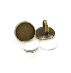 Antique Bronze Tone Cabochon Ring Bases - 24.5mm Tray - with Glass Dome Seals - 2 Sets 4 Pieces - Z856