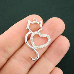 2 Cat Heart Charms Silver Tone Charms - SC7160