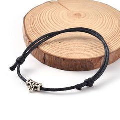 Black Wax Cord Adjustable Bracelet - 55-110mm - 2 Bracelets - N270