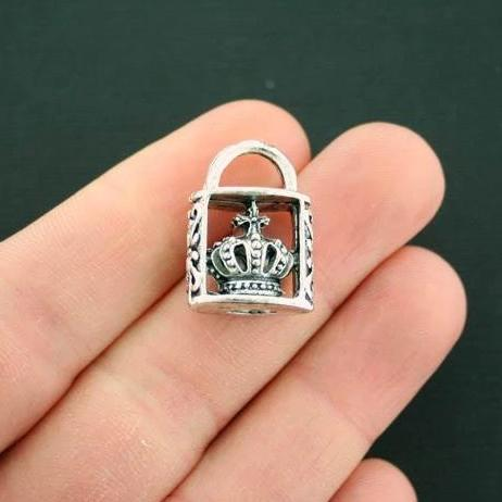 2 Crown Lock Charms Antique Silver Tone Incredible 3D Details 2 Sided SC2848