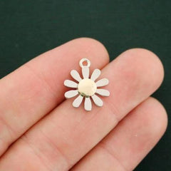 2 Daisy Silver and Gold Tone Charms - SC7439