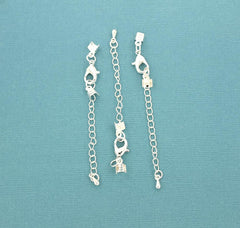 Silver Tone Extender Chain With Lobster Clasp, Chain Drop and 2 Cord Ends - 55mm x 3.1mm - 2 Pieces - Z923