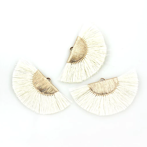 Fan Tassels - Gold Tone and Off White - 2 Pieces - Z848