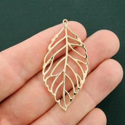 2 Leaf Gold Tone Charms 2 Sided - GC1111