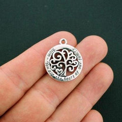 2 Mom Family Tree Antique Silver Tone Charms - SC5784