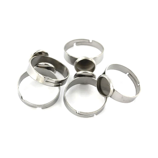 Stainless Steel Adjustable Ring Bases - 16.9mm with 8mm Cabochon Setting - 2 Pieces - FD395