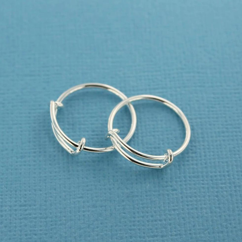Silver Tone Adjustable Ring Bases - 15.9mm - 2 Pieces - FD394