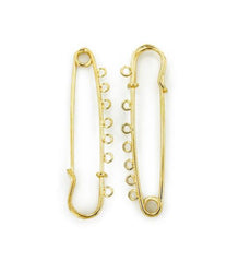 Gold Tone Safety Pins - 70mm x 18mm x 6mm - 2 Pieces - Z841