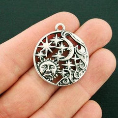 2 Sun and Moon Antique Silver Tone Charms - SC6581