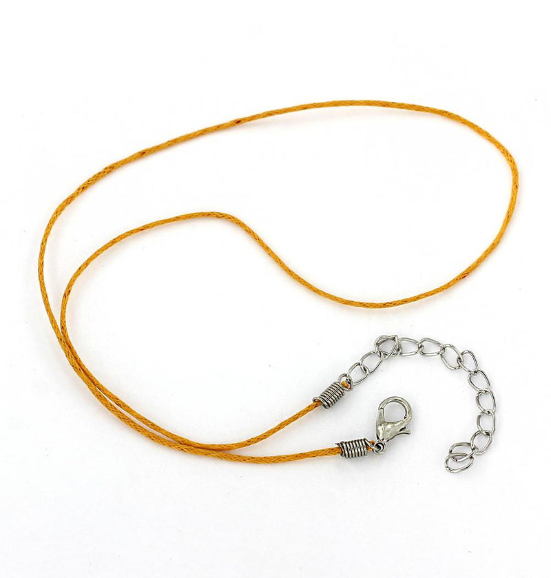 "Burnt Yellow Wax Cord Necklace 15"" Plus Extender - 1mm - 2 Necklaces - N346"