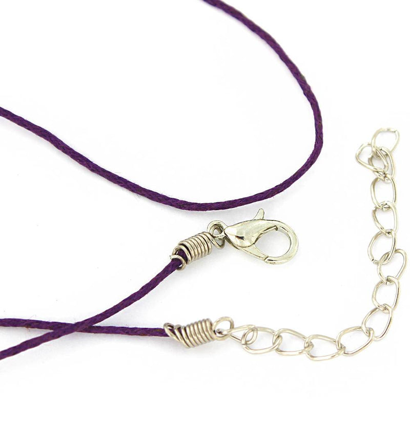 "Dark Purple Wax Cord Necklace 15"" Plus Extender - 1mm - 2 Necklaces - N347"