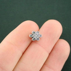 Celtic Knot Spacer Metal Beads 10mm x 7mm - Silver Tone - 20 Beads - SC7539