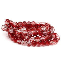 Round Glass Beads 8mm - Crackle Cranberry Red - 20 Beads - BD337