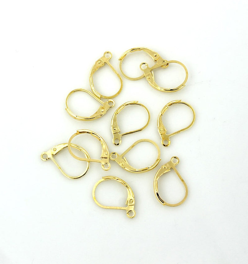 Gold Tone Earring - Lever Back Wires - 16mm x 10mm - 20 Pieces 10 Pairs - Z829
