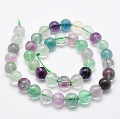Round Natural Fluorite Beads 8mm - Purples, Blues, and Greens - 20 Beads - BD774