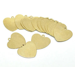 Heart Stamping Blanks - Gold Tone Brass - 18mm x 18mm - 20 Tags - MT125