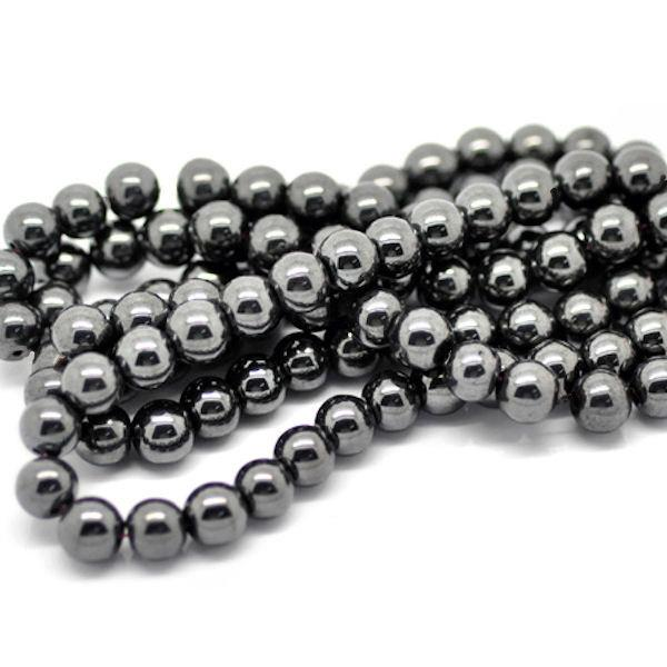 Round Hematite Beads 8mm - Metallic Gunmetal Grey - 20 Beads - BD129