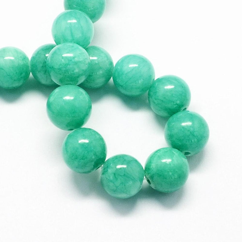Round Natural Jade Beads 8mm - Aquamarine - 20 Beads - BD988