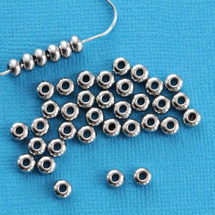 Stainless Steel Spacer Metal Beads 5mm x 3mm - Silver Tone - 20 Beads - FD217