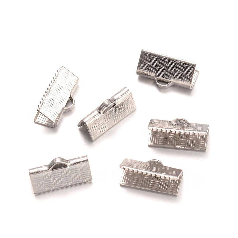 Stainless Steel Ribbon Ends - 13mm x 7mm - 20 Pieces - FD481