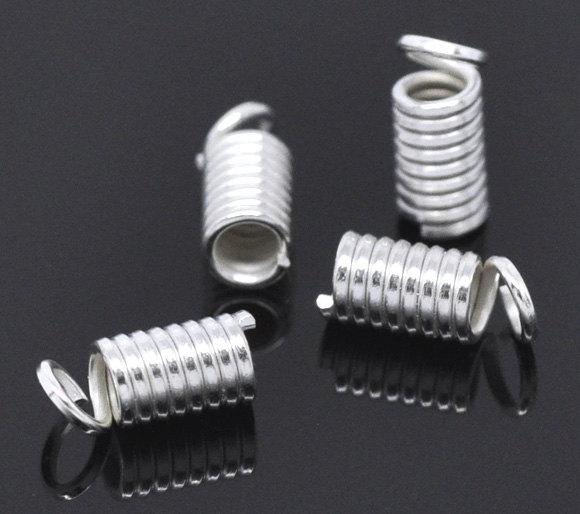 Silver Tone Coil Ends - 9mm x 4mm - 200 Pieces - FD033