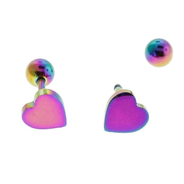 Rainbow Electroplated Stainless Steel Earrings - Heart Studs - 6mm x 6mm - 2 Pieces 1 Pair - ER072
