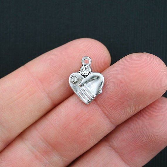 5 Hands Heart Antique Silver Tone Charms with Inset Rhinestones - SC3454