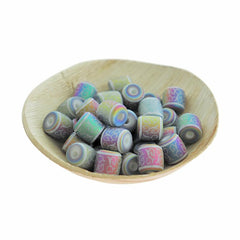 Barrel Glass Beads 12mm - Frosted Electroplated Vine Pattern - 12 Beads - BD2542
