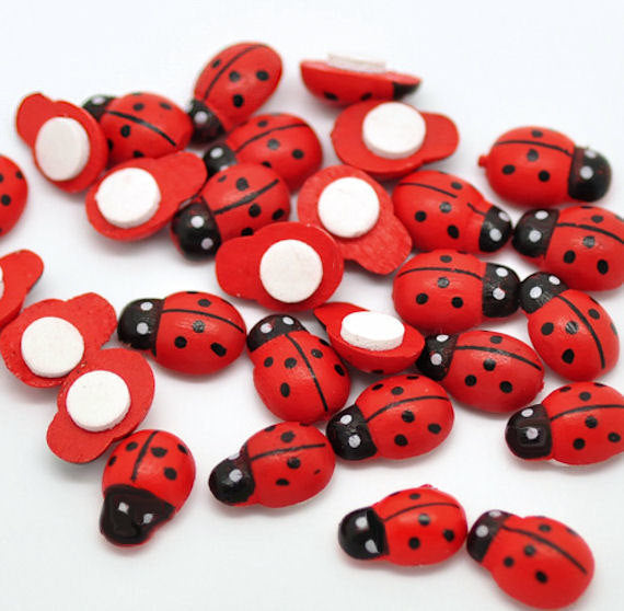 SALE 50 Wooden Ladybugs with Adhesive Backing - Perfect for Scrapbooking and Crafts - Z054
