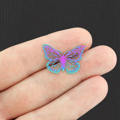 4 Filigree Butterfly Rainbow Electroplated Stainless Steel Charms 2 Sided - SSP239